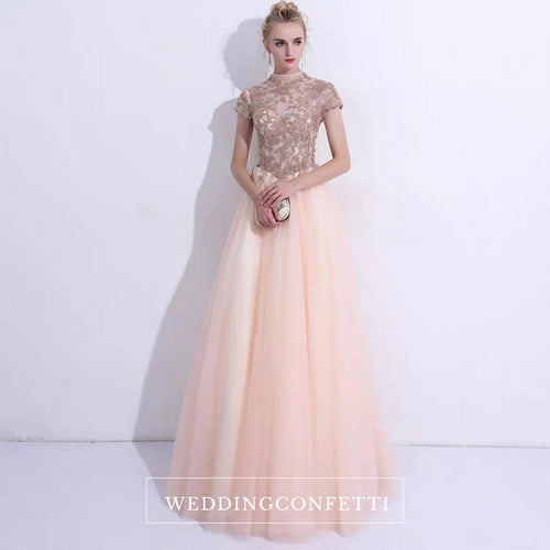 The Rosalle Ombré High Collar Champagne Gown - WeddingConfetti