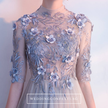 Load image into Gallery viewer, The Sarah Grey Long Sleeves Lace Gown - WeddingConfetti