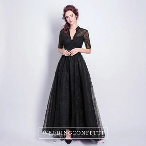 The Lerynn Short Sleeve Black Gown - WeddingConfetti