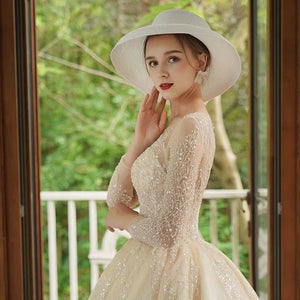 The Chandler Wedding Bridal Long Illusion Sleeves Gown - WeddingConfetti