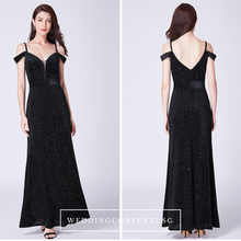 Load image into Gallery viewer, The Monica Black / Blue Off Shoulder Glitter Gown - WeddingConfetti