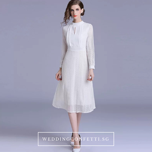 The Estacia Wedding Bridal White Long Sleeves Dress - WeddingConfetti