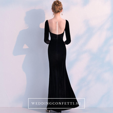 Load image into Gallery viewer, The Audrey Black Long Sleeve Scalloped Neckline Gown - WeddingConfetti