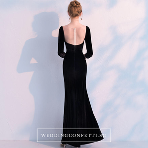The Audrey Wedding Bridal Black Long Sleeve Gown