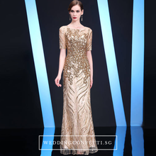 Load image into Gallery viewer, The Kerdelle Blue / Gold Long Illusion Sleeves Gown (Available in 2 colours) - WeddingConfetti