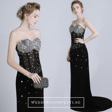 Load image into Gallery viewer, The Candice Black Fishtail Dress / Gown - WeddingConfetti