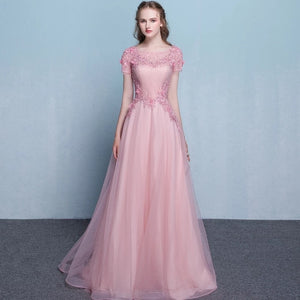 The Pennslyvania Pink Short Sleeve Tulle Gown - WeddingConfetti