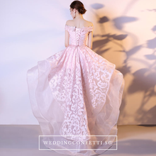 Load image into Gallery viewer, The Felicia Pink High Low Off Shoulder Dress - WeddingConfetti