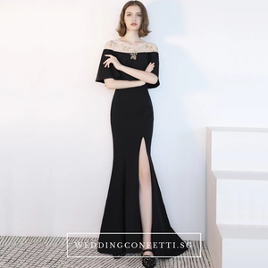 The Benecia Black Off Shoulder Gown - WeddingConfetti