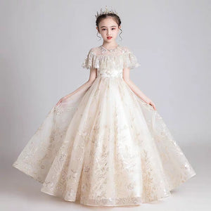 The Kyla Champagne Flower Girl Dress - WeddingConfetti