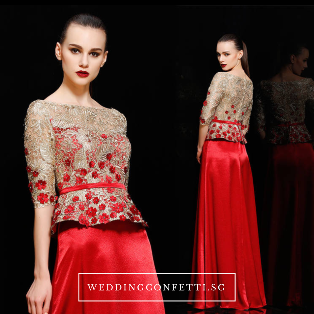 The Adella Sequined Champagne / Red Long Sleeves Gown (Available in 2 colours) - WeddingConfetti