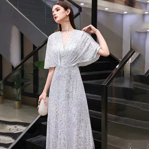 The Rayna Silver Sequined Draped Sleeves Gown (Available in 2 colours) - WeddingConfetti