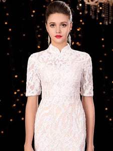 The Orient Wedding Bridal Cheongsam Mandarin Collar Gown - WeddingConfetti