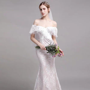 The Winslet Wedding Bridal Off Shoulder Lace Dress - WeddingConfetti