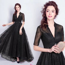 Load image into Gallery viewer, The Lerynn Short Sleeve Black Gown - WeddingConfetti