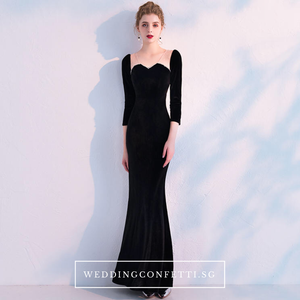 The Audrey Black Long Sleeve Scalloped Neckline Gown - WeddingConfetti