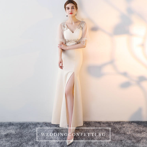 The Jacqueline Champagne Lace Short Sleeves Gown With Slit - WeddingConfetti