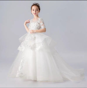 The Ketea Flower Girl Blue /White Dress - WeddingConfetti