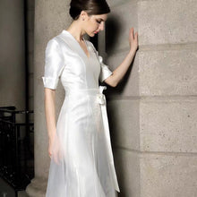 Load image into Gallery viewer, The Paloma Wedding Bridal White Short Sleeve Gown - WeddingConfetti