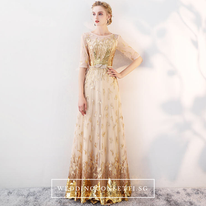The Trina Gold Long Sleeves Gown - WeddingConfetti