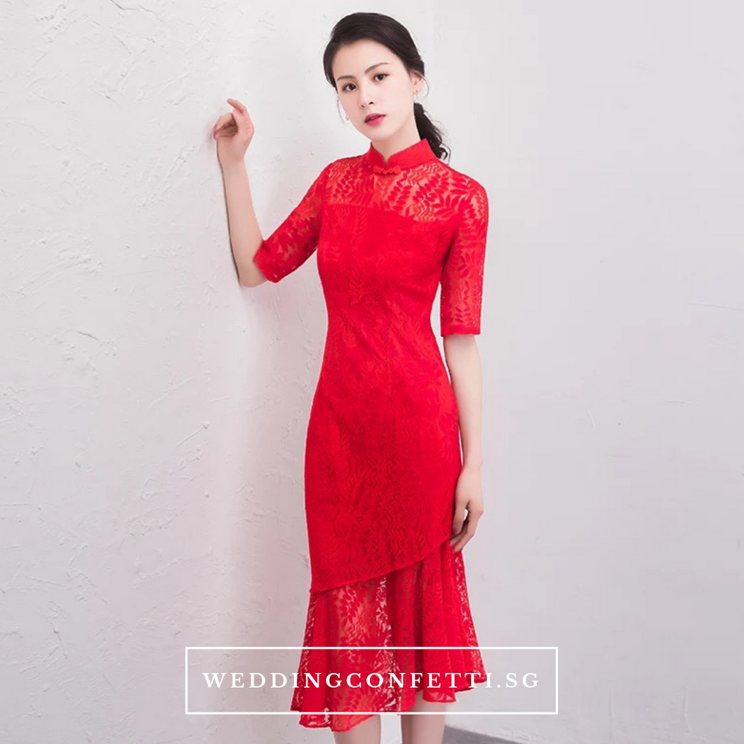 The Janis Mandarin Collar Cheongsam Lace Red Dress - WeddingConfetti
