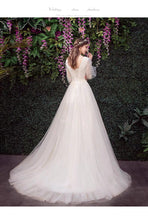 Load image into Gallery viewer, The Kylie Wedding Bridal Illusion Sleeve Lace Gown - WeddingConfetti