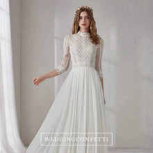 Load image into Gallery viewer, The Merlynda Wedding Bridal Long Illusion Sleeves Gown - WeddingConfetti
