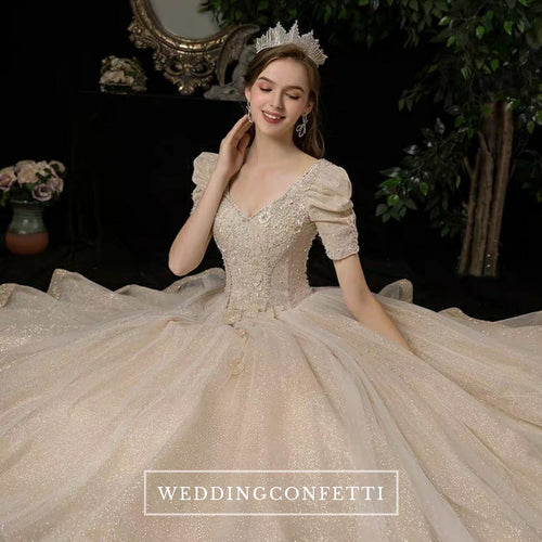 The Isabrina Wedding Bridal Short  Sleeves Champagne Gown - WeddingConfetti