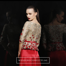 Load image into Gallery viewer, The Adella Sequined Champagne / Red Long Sleeves Gown (Available in 2 colours) - WeddingConfetti