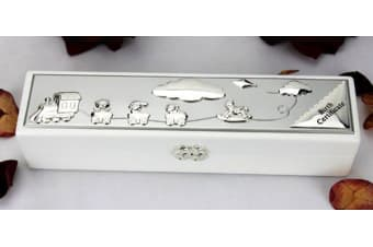 White timber and silver plated birth certificate box.