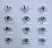 Sterling Silver Birthstone girls signet rings.
