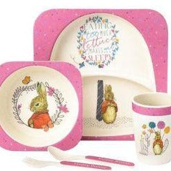 Flopsy Bunny bamboo 5 piece dinner set.