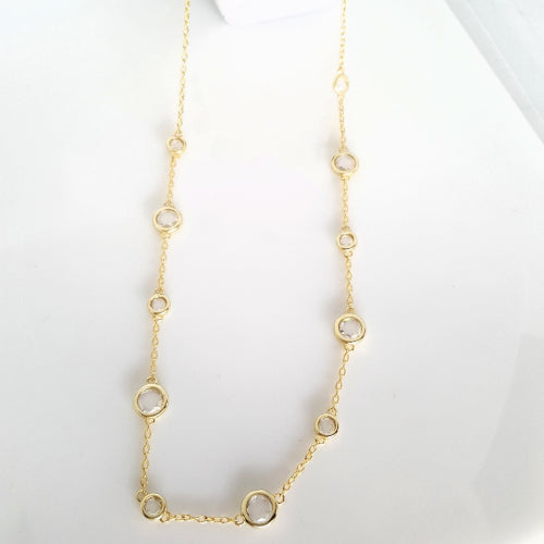 Sterling silver gold plated 45cm CZ necklet.