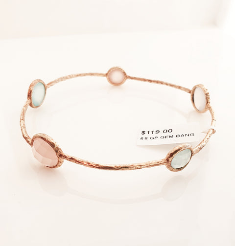 Sterling silver gold plated gem bangle
