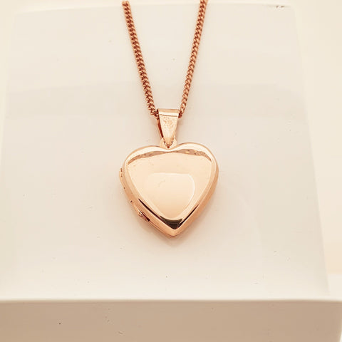 Sterling Silver Rose Gold Plated heart locket.