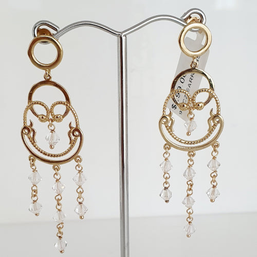 9ct gold CZ chandelier earrings