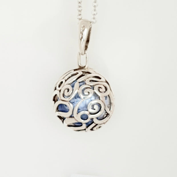 Sterling silver filigree ball pendant
