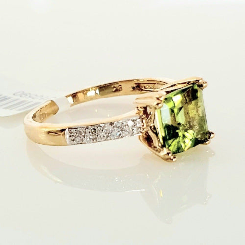 9ct yellow gold Peridot & Diamond ring.
