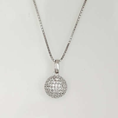 Sterling silver CZ ball necklace