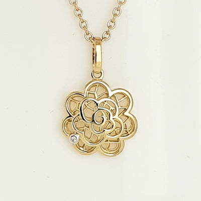 9ct floral Diamond pendant.