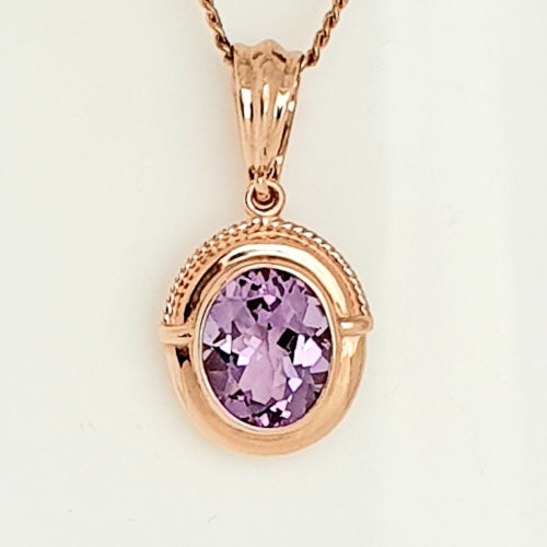 9ct rose gold Amethyst pendant