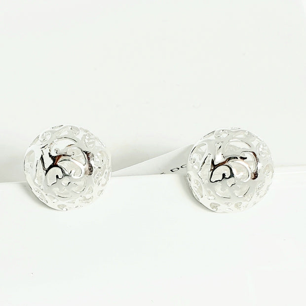 Sterling silver filigree dome studs