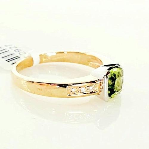 9ct yellow gold Peridot & Diamond ring