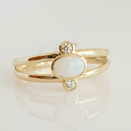 9ct yellow gold Solid White Opal & Diamond ring.