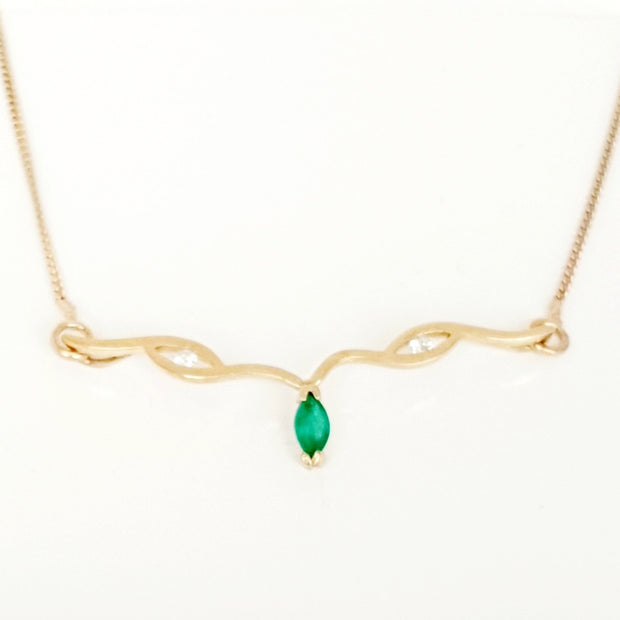 9ct yellow gold Natural Emerald & Diamond necklace.