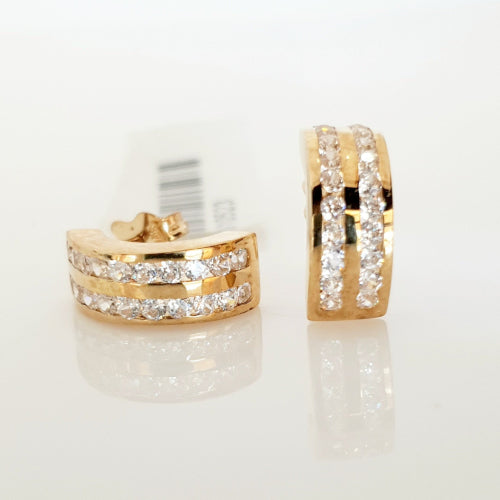 9ct yellow gold CZ half hoop earrings