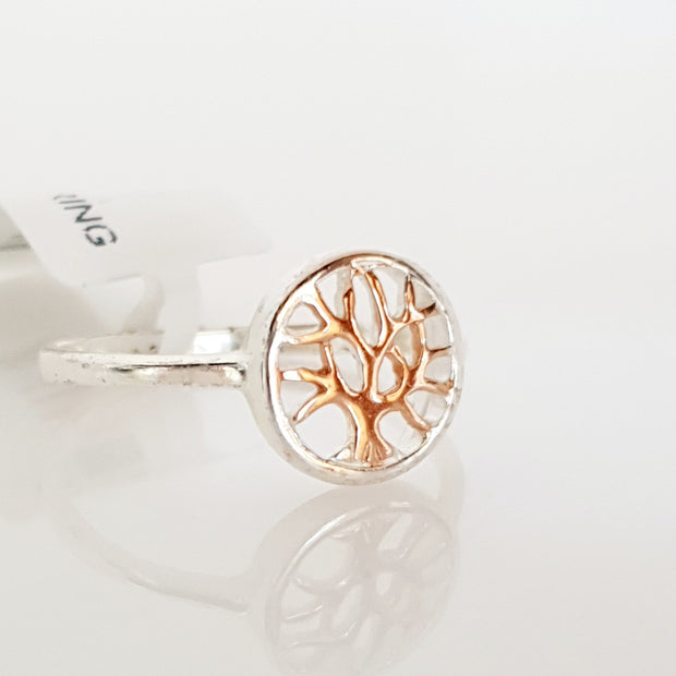 Sterling silver rose gold plated Tree of Life ring.