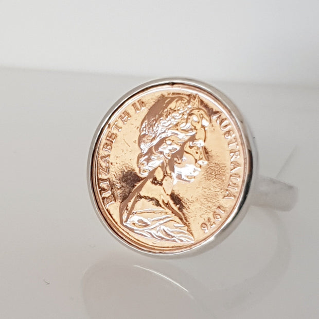 Sterling silver 2 cent coin ring