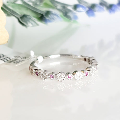 9ct white gold Pink Sapphire & Diamond ring.