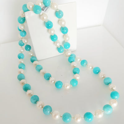 Fresh water pearl and Amazonite necklace.